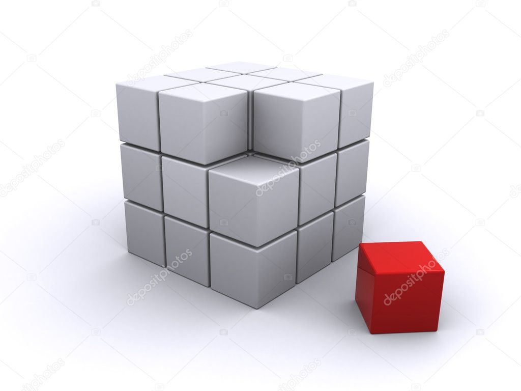 Abstract cube on a white background (3d render) — Stock Photo #6687012