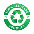 100% recycled product label — Stock Vector