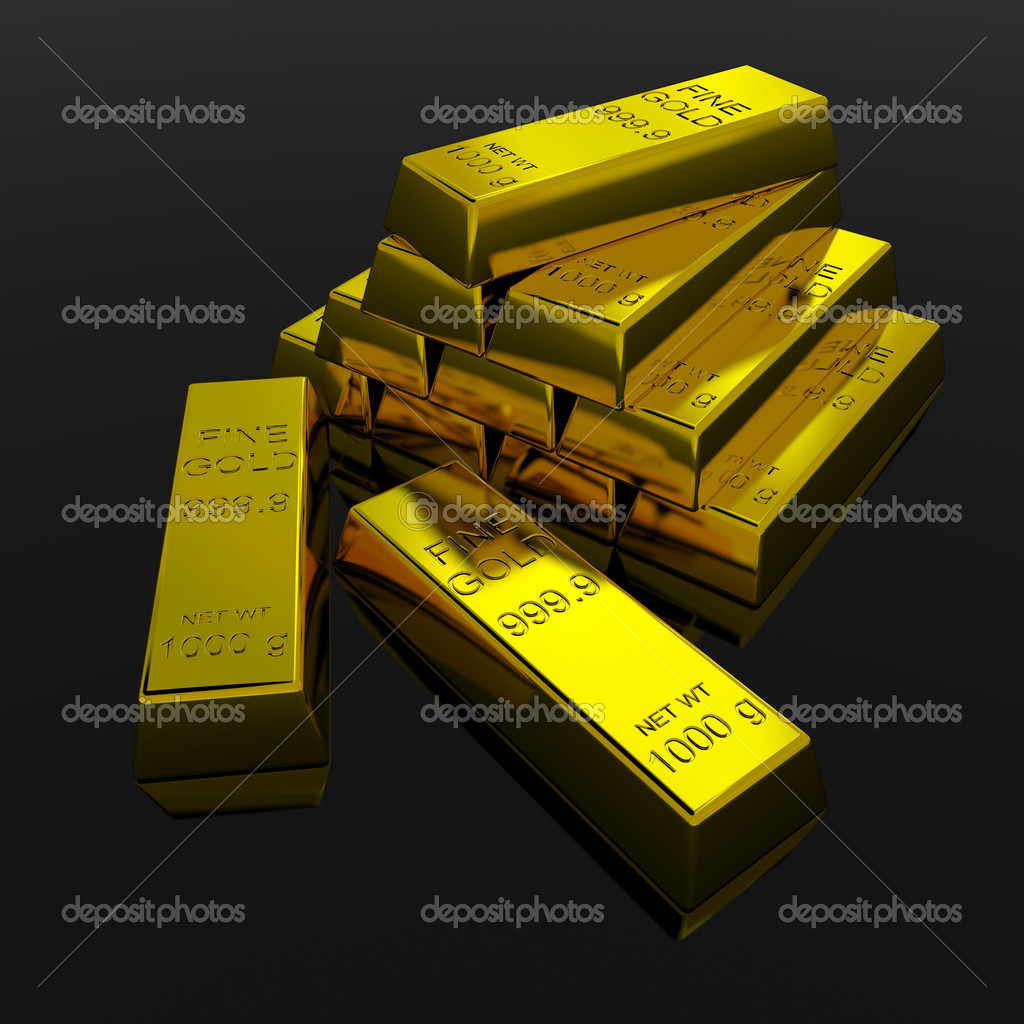 Gold Bars on black glossy surface. 3D render image. — Stock Photo #5626522