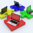 Laptop jigsaw puzzle. — Stock Photo