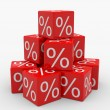 Pyramid of red cubes with percents — Stock Photo