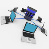 Abstract computer network and database. Concept. — Stock Photo