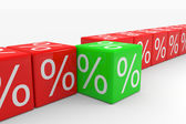 Linha de cubos vermelhos com porcentagens com um cubo verde — Foto Stock