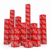 Stapels van rode blokjes met procenten — Foto de Stock