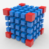 Cube assembling from blocks — Stock Photo