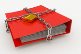 Folder closed by a chain and padlock — Stock Photo