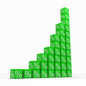 Graph from green cubes with percents — Stock Photo