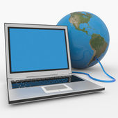 Laptop connected to the earth sphere. — Stock Photo