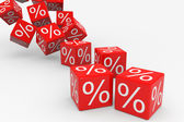 Red cubes with percents falling down — Stock Photo