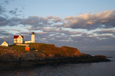 "Sunset at Cape Neddick ""The Nubble"" Lighthouse — Zdjęcie stockowe"