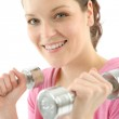 Fitness happy woman exercise dumbbell — Stock Photo #5555848