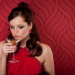 Cocktail party woman evening dress enjoy drink — Stock Photo #5555853