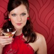 Cocktail party woman evening dress enjoy drink — Stock Photo