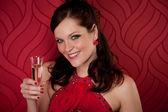 Cocktail-Party Frau Champagner vorhanden — Stockfoto