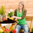 Royalty-Free Stock Photo: Gardening woman planting spring flower