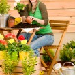 Gardening woman planting spring flower — Stock Photo