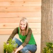 Gardening woman planting on terrace — Stock Photo