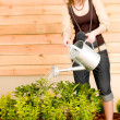 Gardening woman watering plant spring terrace — Stock Photo #5572844