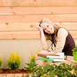 Garden happy woman relax terrace spring — Stock Photo