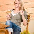 Garden happy woman enjoy glass wine terrace - Stock Photo