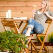 Garden happy woman enjoy glass wine terrace — Stock Photo