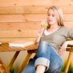 Garden happy woman enjoy glass wine terrace — Stock Photo #5572875