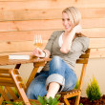 Garden happy woman enjoy glass wine terrace — Stock Photo #5572879