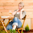 Garden happy woman enjoy glass wine terrace — Photo