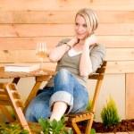 Garden happy woman enjoy glass wine terrace — Stock Photo #5572880