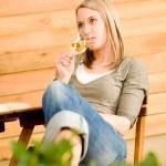 Garden happy woman enjoy glass wine terrace — Stock Photo #5572883