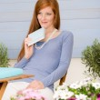Stock Photo: Summer terrace redhead woman relax in garden