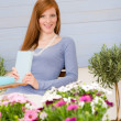 Summer terrace redhead woman relax in garden — Stock Photo