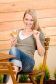 Garden happy woman enjoy glass wine terrace — Stock Photo