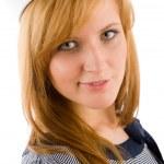Young marine woman fashion portrait sailor hat — Stock Photo #5596358