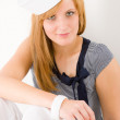 Young marine woman fashion portrait sailor hat — Stock Photo #5596381