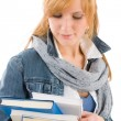 Student young woman hold book — ストック写真