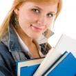 Student young woman hold book — Foto Stock