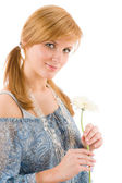 Romantic young woman hold gerbera daisy — Stock Photo