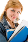 Student young woman hold book — Stock fotografie