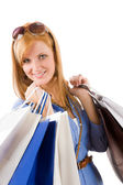 Shopping young woman with bag — Stockfoto