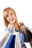 Shopping young woman with bag — Stock fotografie