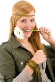 Hippie young woman with gerbera daisy — Stock Photo