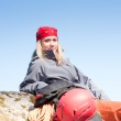 Active woman rock climbing relax with backpack — Stock Photo