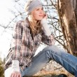 Portrait camping young woman backpack in country — Stock Photo