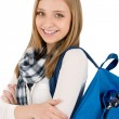 Stock Photo: Student teenager womwith schoolbag