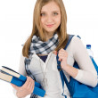 Student teenager woman with schoolbag hold books — Photo