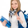 Thumbs up student teenager woman with shoolbag — Stock Photo #5657518