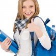 Thumbs up student teenager woman with shoolbag — Foto Stock