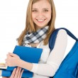 Student teenager woman with schoolbag hold books -  