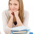 Student teenager woman with laptop book - Stock Photo